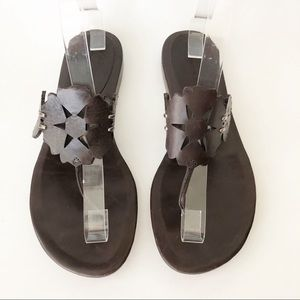 Vera Wang Lavender Floral Cutout Leather Sandal